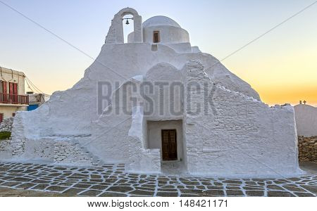 Panagia Paraportiani church in Mykonos, Greece at dawn