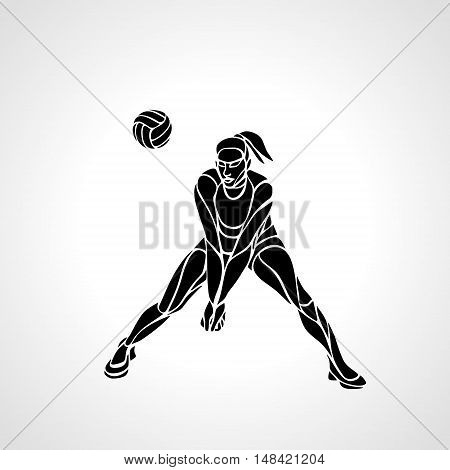Woman female volleyball abstract player passing ball. Black and white silhouette. Vector illustration