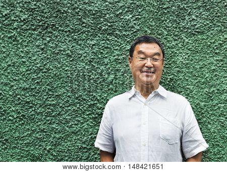 Japanese Man Smiling Lifestyle Portrait Concept