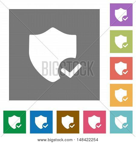Protection ok flat icon set on color square background.