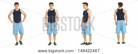 Boy teen lifeguards over white background isolated