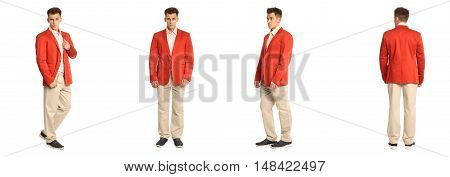 Charming Elegant Man In Red Jacket Over White Background