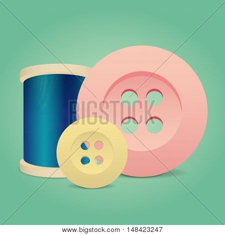 Thread spool and buttons. Vector background with sewing accessories.