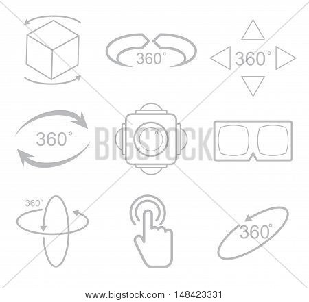 360 Degrees View Vector Icon on white background