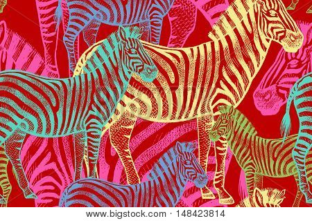 Seamless vector pattern with African animals. Colored Zebra on a red background. Template to create fabric Wallpaper paper textiles curtains design summer clothes in the style of Safari