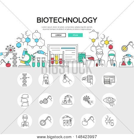 Biotechnology linear concept including scientific experiments composition and set of monochrome gene modification icons isolated vector illustation