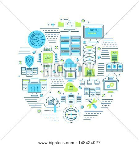 Datacenter round composition with server equipment and security system internet technology and cloud service vector illustration