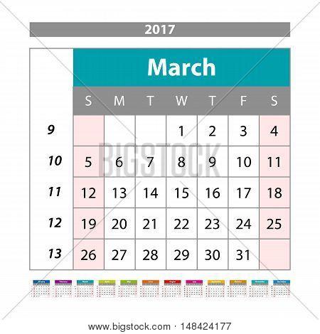 Simple Digital Calendar For March 2017. Vector Printable Calendar. Monthly Scheduler. Week Starts On