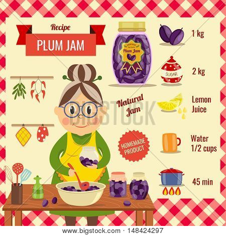 Plum jam recipe flat design with housewife near wooden table and ingredients for dish vector illustration