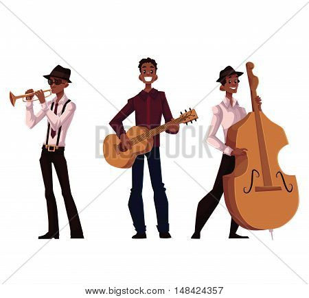 Set of handsome African male trumpet, guitar and contrabass players, cartoon vector illustration isolated on white background. Set of full height portraits of African American male musicians
