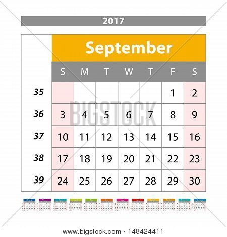 Desk Calendar For 2017 Year. September. Vector Design Print Template With Place For Photo. Week Star
