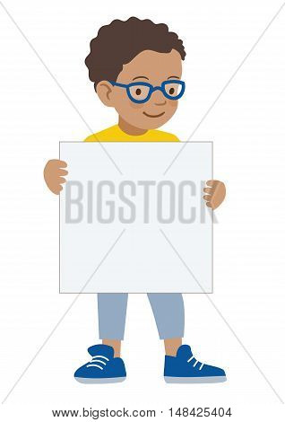 Vector hand drawn cartoon character illustration of a little African American boy wearing eyeglasses holding a blank sign. Editable text sign template design element contemporary flat vector style