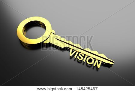 Business concept, Golden key with word vision. 3D Illustration
