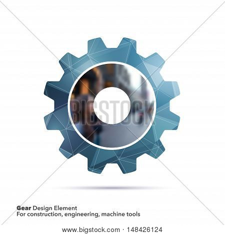 Vector design elements for graphic layout. Modern abstract background template with blue geometric gear on polygonal background for business, engineering, construction, machines in clean minimal style