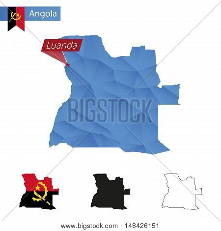 Angola Blue Low Poly Map With Capital Luanda.