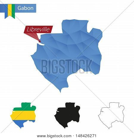 Gabon Blue Low Poly Map With Capital Libreville.