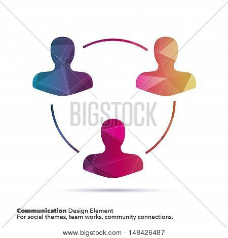 Vector design elements for graphic layout. Modern abstract background template with blue geometric bust icon on polygonal background for business, network, teamwork, social communications.