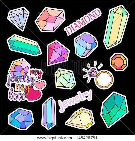 Fashion patch badges. Diamonds and jewelry set. Set of stickers, pins, patches and handwritten notes collection in cartoon 80s-90s comic style. Trend. Vector illustration isolated. Vector clip art.