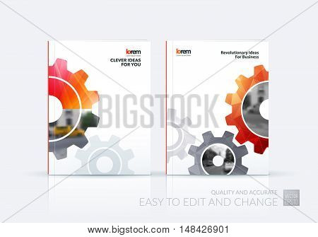 Brochure template layout, cover design annual report, flyer, leaflet in A4 with red gear and polygonal background with overlap effect for engineering, construction and hi-tech. Set vector.