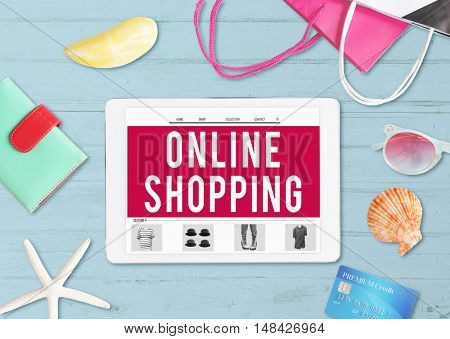 Online Shopping Shipping Internet Commerce Concept
