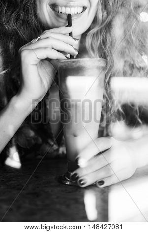Woman Drinking Beverage Smiling Concept