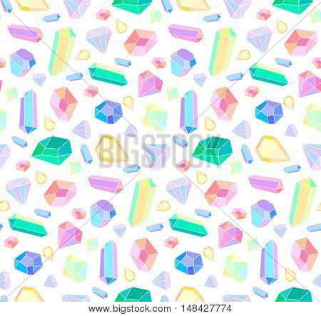 Vector seamless pattern with diamonds and jewelry. Vector pattern