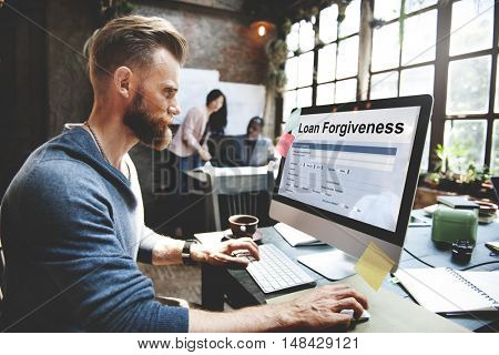 Loan Forgiveness Debt Filling Application Concept