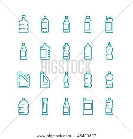 Plastic bottles line vector icons set. Container for beverage or milk, jerrycan in linear style for oil illustration