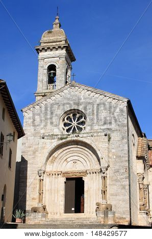 Cathedral of San Quirico d'Orcia in Tuscany Italy