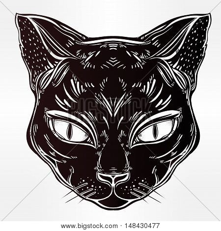 Black cat head portrait. Ideal Halloween background, tattoo art, Egyptian, spirituality, boho design. Perfect for print, posters, t-shirts and textiles. Vector illustration.