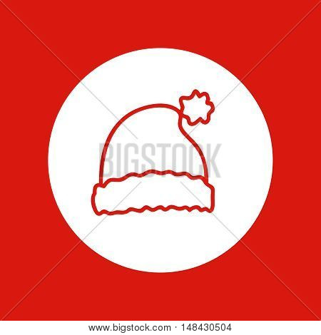 Hand drawn Christmas and New Year icon, vector design element, red line illustration isolated on white. Christmas hat, Santa Claus attribute