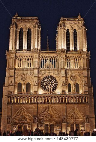 Notre Dame Cathedral by night. Paris France - HDR