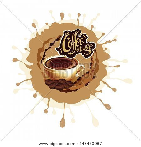 Banner with a cup of coffee. Coffee house logo. Vector illustration.