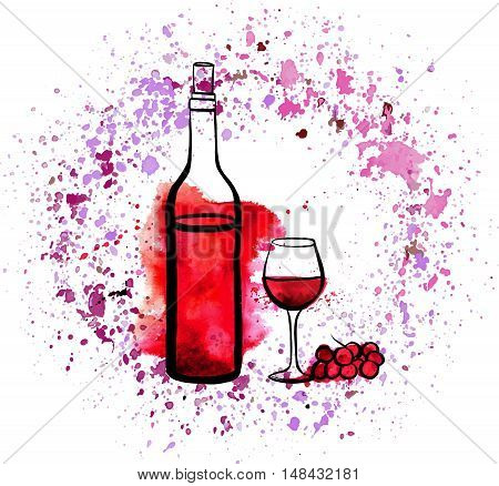 A vector and watercolor illustration of a bottle and glass of red wine with grapes and splashes of paint, on white background