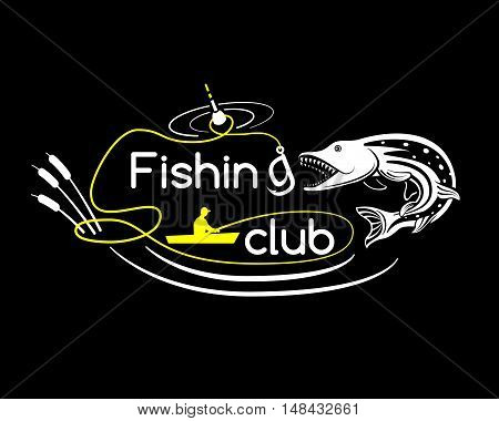 Pike fishing club, vector illustration for your design, eps10