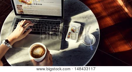 Laptop Searching Bakery Pastry Recipe Concept