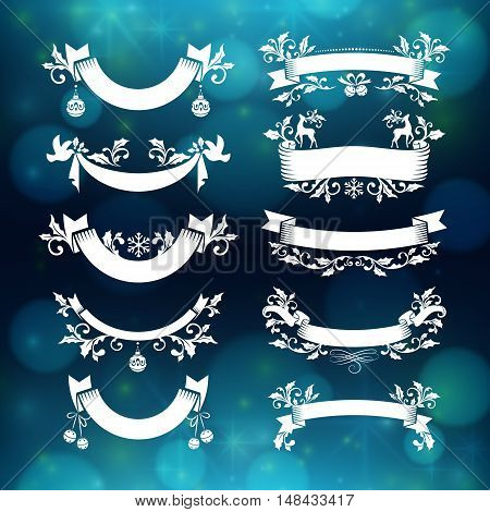 Christmas ribbons with holly decoration and copy space