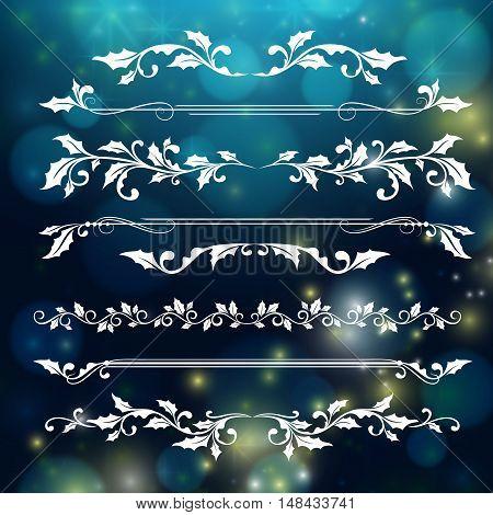 Christmas horizontal dividers and borders holly ornaments.