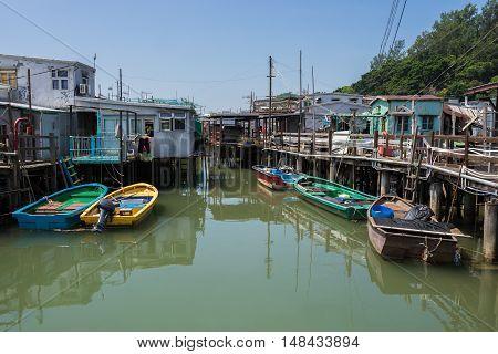 Tai O Fishing Village of Lantau Island in Hong Kong, China.