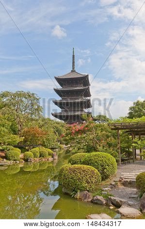 KYOTO JAPAN - JULY 23 2016: Five-story pagoda (Gojunoto circa 1644) of Toji Temple in Kyoto. The tallest wooden tower in Japan (54.8 m) symbol of Kyoto National Treasure and UNESCO site