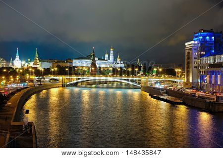 Night landscape with the image of the Moskow (Moskva) River embankment and the Kremlin