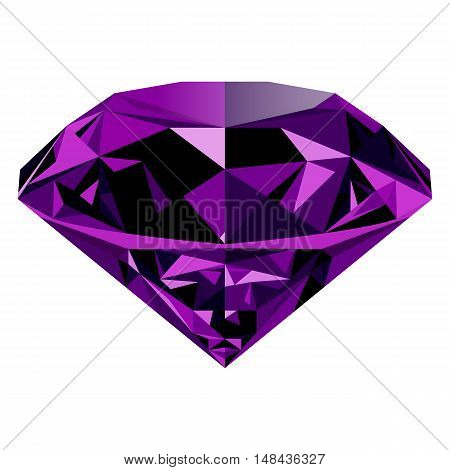 Realistic shining purple amethyst jewel isolated on white background. Colorful gemstone that can be used as part of logo icon web decor or other design.
