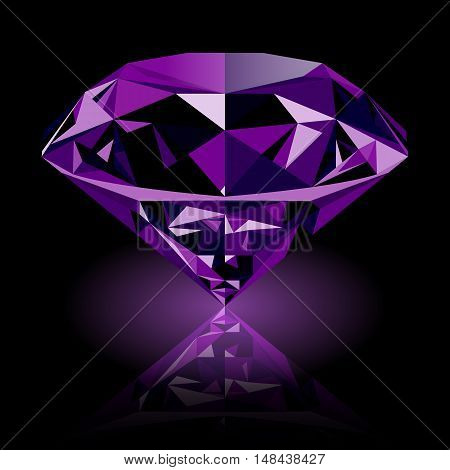 Realistic shining purple amethyst jewel with reflection and purple glow isolated on black background. Colorful gemstone that can be used as part of logo icon web decor or other design.
