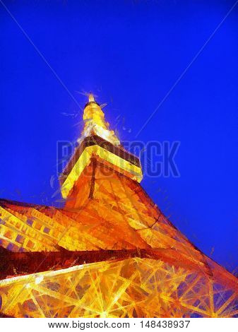 Painted image of a television tower at night in Tokyo Japan. Illustration
