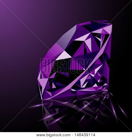 Realistic shining purple amethyst jewel with reflection purple glow and light sparks isolated on black background. Colorful gemstone that can be used as part of logo icon web decor or other design.