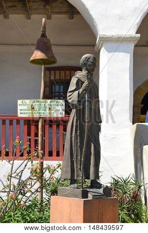 SANTA BARBARA, CALIFORNIA - SEPTEMBER 21, 2016: Junipero Serra Statue at Santa Barbara Mission. Serra was a Catholic friar of the Franciscan Order who founded the first nine of 21 California missions.