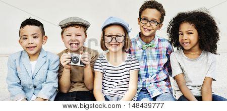 Sitting Camera Kids Lifestyle Concept
