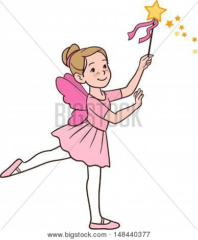 Vector hand drawn cartoon character illustration of a smiling cute little Caucasian ballerina girl dancing in a fairy costume with wings and magic wand in a ballet stance isolated on white.