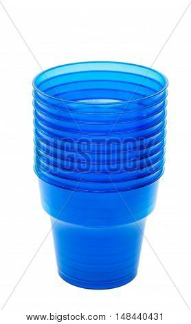 Blue empty plastic cup isolated on white