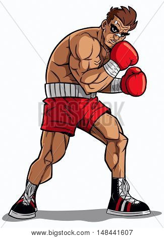 Illustration of a boxer on white background.